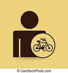 ember, árnykép, bycicle, ikon, tervezés