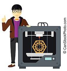 ember, átmérő, printer., három