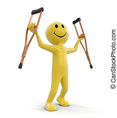 ember, és, crutches., kép, noha, nyiradék út