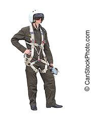 ember, öltözött, mint, egy, pilóta, képben látható, egy, white háttér