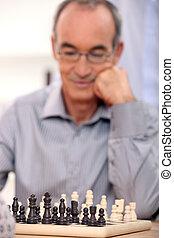 ember, öreg, sakkjáték, játék