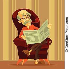 ember, újság, felolvasás, öreg
