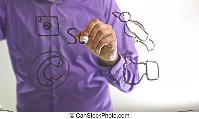 """ember, üzletember, írja, képben látható, pohár, bizottság, """"social, media"""""""