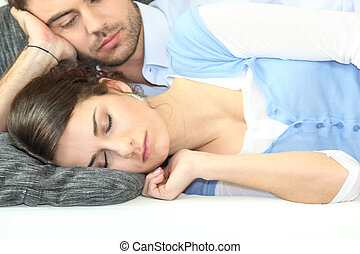 ember, őrzés, övé, barátnő, alszik