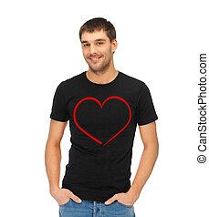 ember, alatt, black trikó, noha, szív, kép