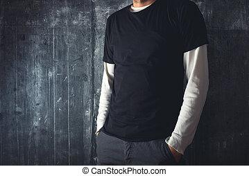 ember, alatt, tiszta, black trikó