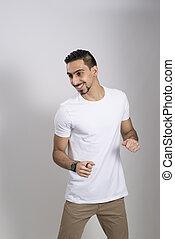 ember, alatt, white ing, és, khaki, nadrág, alatt, egy, vidám, kedélyállapot