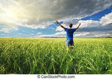 ember, alatt, zöld, meadow.