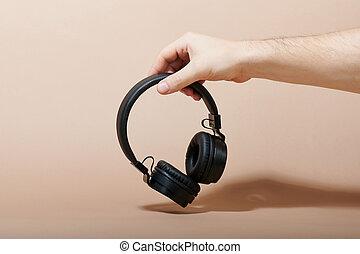 ember, befolyás, fekete, fejhallgató, kéz