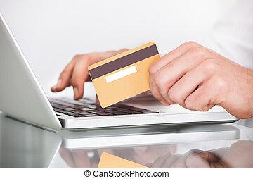 ember, bevásárlás, noha, hitelkártya, és, laptop