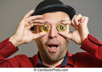 ember, birtoklás, szem, bitcoin