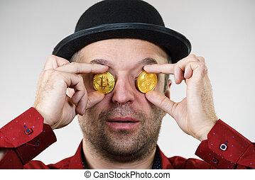 ember, bitcoin, birtoklás, szem
