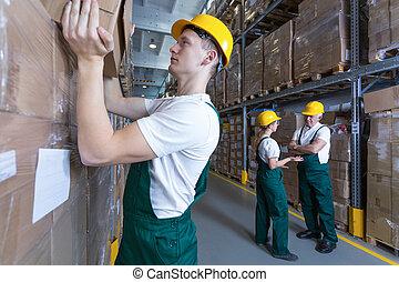ember, dolgozó, alatt, raktárépület