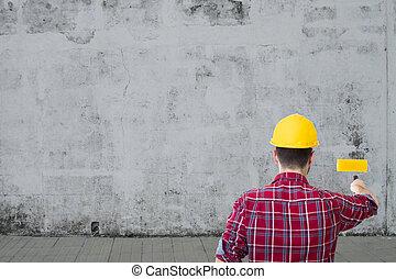 ember, dolgozó, festmény, közfal