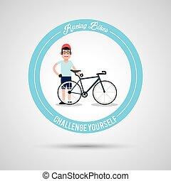 ember, elnyomott bicikli, belső, karika, tervezés