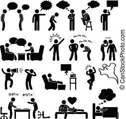 ember, emberek társalgás, gondolkodó, tréfa