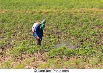 ember, farmer, to spré, vegyszeres gyomirtószer, vagy,...