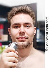 ember, fiatal, borotválkozás