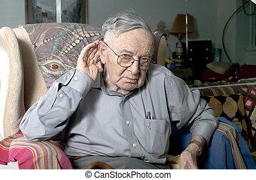 ember, gesztus, gyártás, idősebb ember