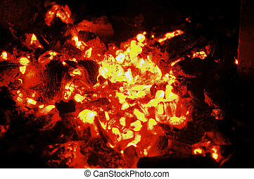 Ember - Glowing hot coal in a fireplace