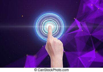 ember, gombolódik tol, kibernetikai, kéz