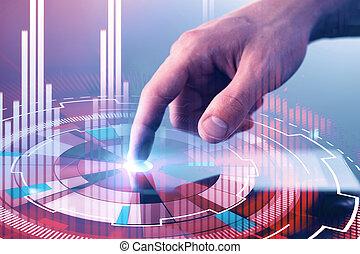 ember, gombol, virtuall, kibernetikai, kéz