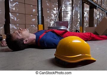 ember, gyár, emelet