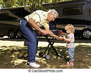 ember, gyermek, hotdog.