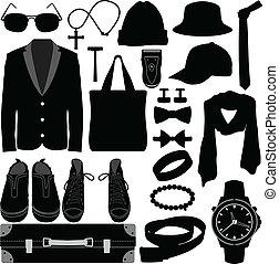 ember, hím, öltözet, hord, segédszervek
