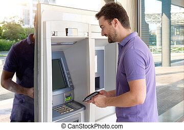 ember, használ, övé, hitelkártya, alatt, egy, atm, helyett, készpénz kivét