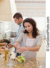 ember, jelentékeny, övé, főzés, barátnő