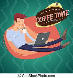 ember, kávécserje, laptop, szüret, jelkép, ábra, geek, buzgó, vektor, tervezés, retro, háttér, hódprém, elegáns, iszik, karikatúra, ikon