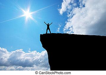 ember, képben látható, a, hegy, él
