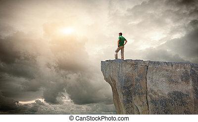ember, képben látható, a, hegy, edge.