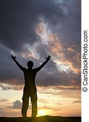 ember, képben látható, a, napnyugta