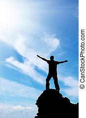 ember, képben látható, csúcs, közül, hegy