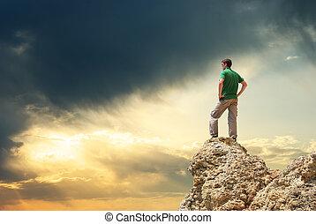 ember, képben látható, csúcs, közül, mountain.