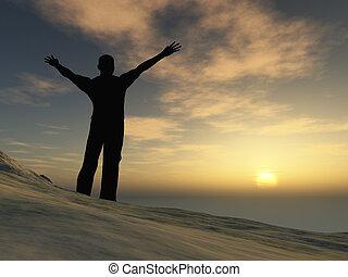 ember, képben látható, hegy