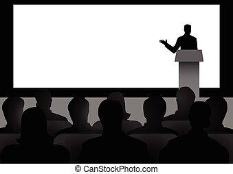 ember, képben látható, pódium