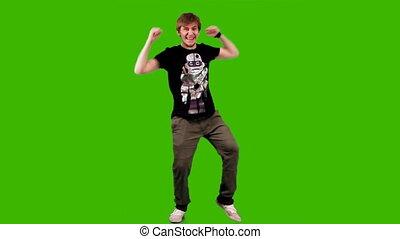 ember, képben látható, zöld háttér