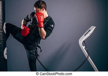 ember, képzés, térd, kick., egy, kickboxer, fárasztó, illeszt, közül, elektromos, izgatás