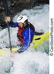 ember, kayaking, alatt, zúgó