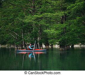 ember, kayaking, képben látható, tó