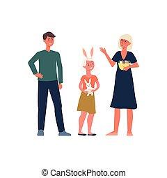 ember, keresztény, család, ünnepel, nő, girl., húsvét, vallásos