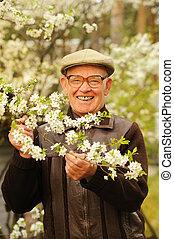 ember, kert, öregedő, boldog