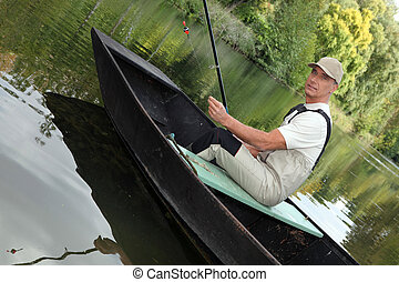 ember, ki, halászat, képben látható, a, tó