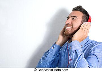ember, kihallgatás, zene, noha, fejhallgató