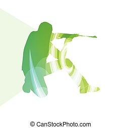 ember, lövés, sport keres, árnykép, ábra, háttér, színes, fogalom