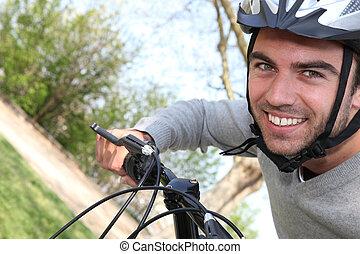 ember, lovaglás, övé, bicikli