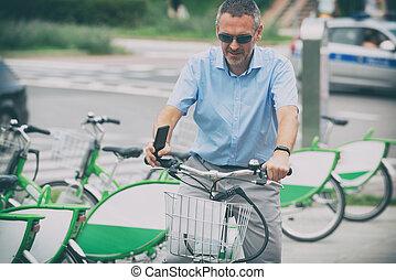 ember, lovaglás, egy, város, bicikli, alatt, hivatalos, mód